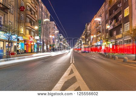 GDYNIA, POLAND - APRIL 8, 2016: City center of Gdynia at night, Poland. Gdynia is an important seaport of Gdansk Bay on Baltic Sea and part of metropolitan area called the Tricity.