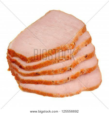 Sliced smoked pork loin isolated on a white background