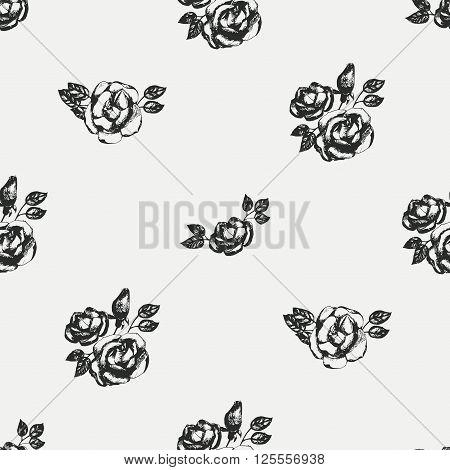 Vintage black and white roses, floral seamless pattern. Digital paper