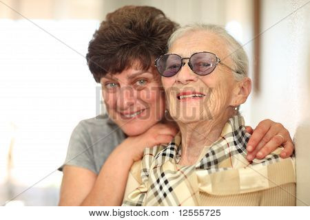 Happy Woman With Elderly Mother