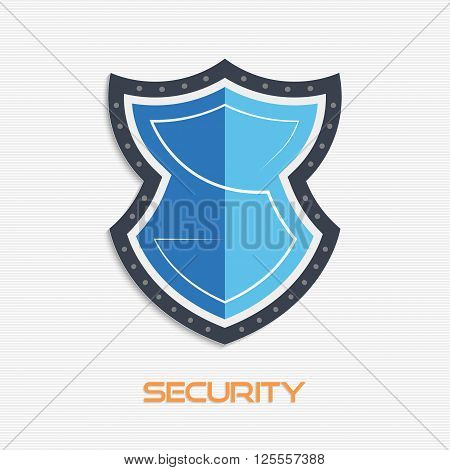 Vector illustration of security shield icon. Safety shield icon. Service shield icon in flat style. Shield icon with letter S for your design