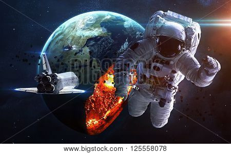 Apocalyptic background - planet Earth exploding, armageddon illustration, end of time. Elements of this image furnished by NASA