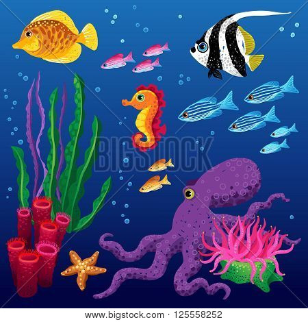Vector Set Of Tropical Fishes.