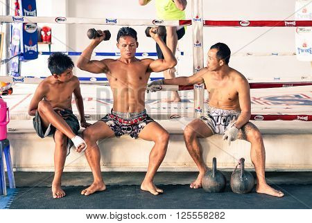 PHUKET THAILAND - JANUARY 26 2016: unidentified kick boxing athletes in unidentified Muay thai boxe and martial arts training camp on January 26 2016 in Patong Phuket Thailand.