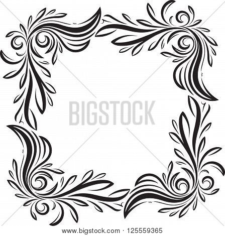 Unusual, Decorative Lace Ornament, Vintage Frame With Square Empty Place For Your Text. Vector Illus