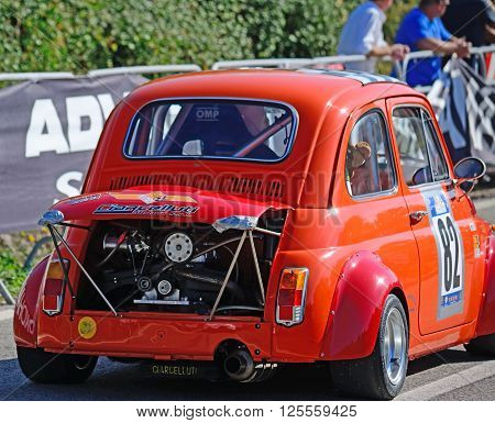 ALGHERO - OCTOBER 18 2015. Extreme tuning of a Fiat 500 in Scala Piccada race in Sardinia Italy