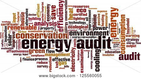 Energy audit word cloud concept. Vector illustration