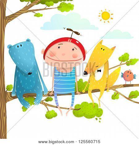 Child kid and fox, bear cute friendship brightly colored cartoon, vector illustration