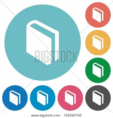 Flat book icon set on round color background.