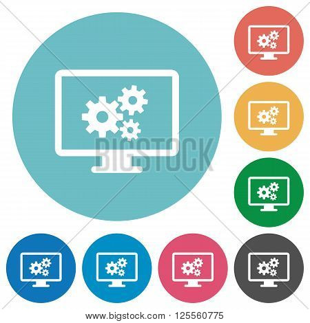 Flat screen settings icon set on round color background.