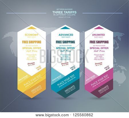 Three tariffs. interface for the site. ui ux vector banner for web app. Pastel pricing table, banner, order, box, button, list and bullet with plan for website in flat design