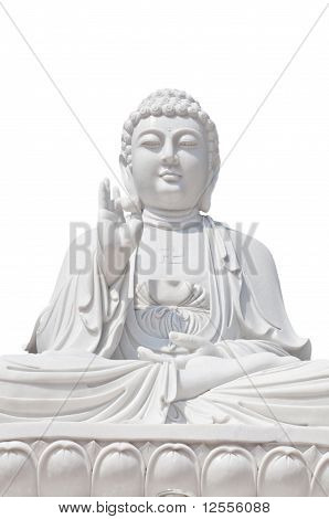 White Buddhist On Isolated Background