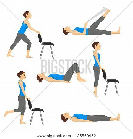 Body workout exercise fitness training set. Knee exercises isolated on white background