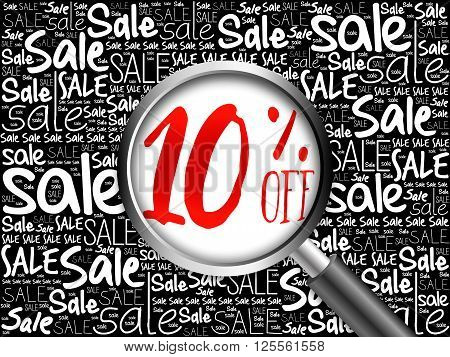 10% Off Sale Word Cloud Background