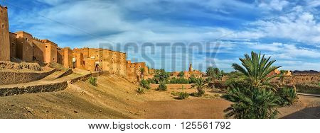 Taourirt Kasbah - Traditional Moroccan clay fortress in the city of Ouarzazate. Panoramic view