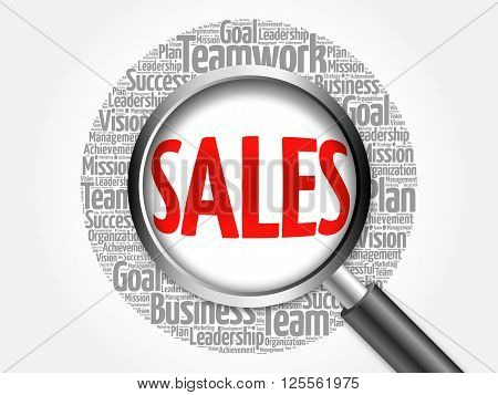 Sales Word Cloud With Magnifying Glass