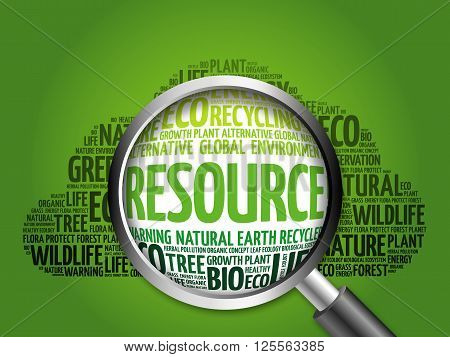 Resource Word Cloud With Magnifying Glass