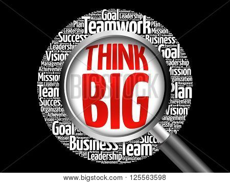 Think Big Word Cloud With Magnifying Glass