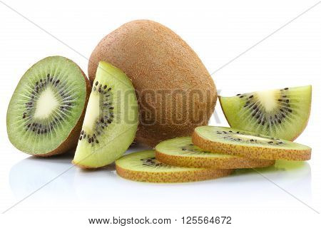 Kiwi Fruit Kiwis Fruits Sliced Isolated On White