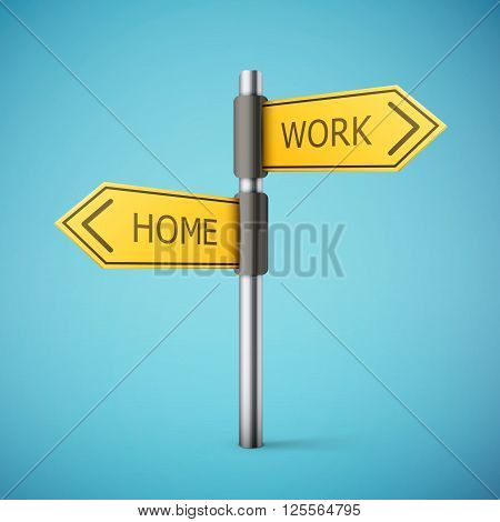 direction road sign with home and work words eps10 vector illustration