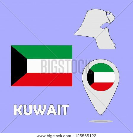 A pointer map and flag of Kuwait