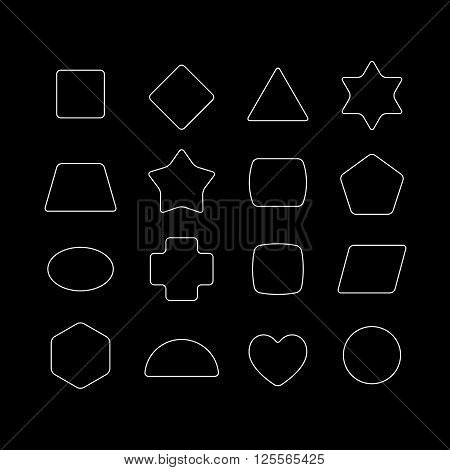 Geometric Shapes With Rounded Corners Set. Outline Style. White And Black Colors.