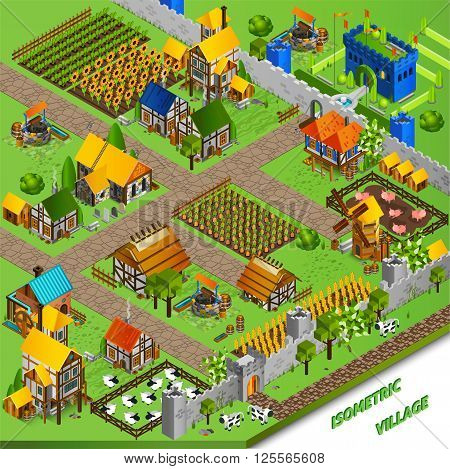 Medieval life background with castle cattle mill and harvest isometric vector illustration
