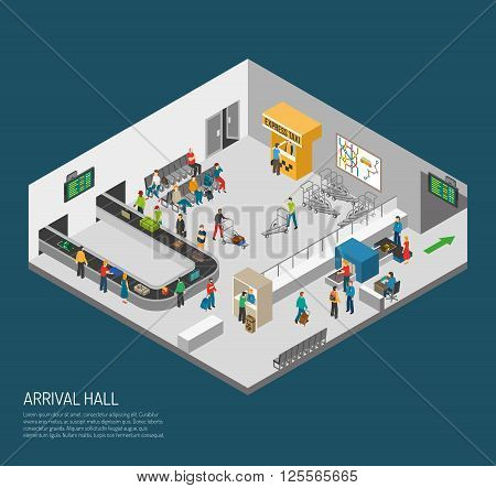 Airport inside poster of scene in arrival hall people getting baggage and pass security isometric vector illustration