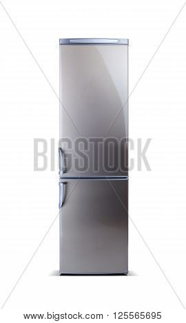 Stainless steel big refrigerator isolated on white. Fridge freezer.