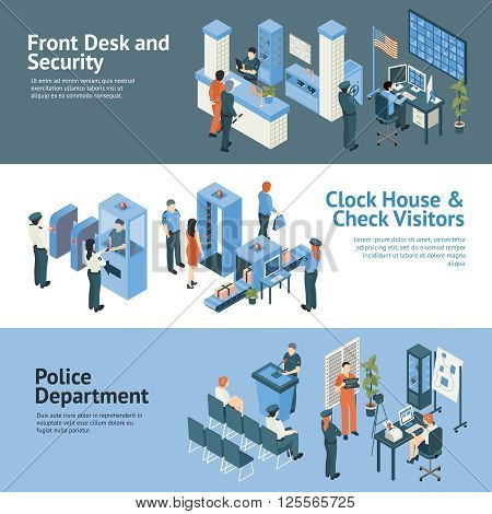 Police department horizontal banners set with clock house and check visitors symbols isometric isolated vector illustration