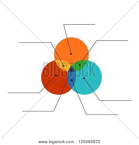 Venn Diagram Flat Style Color Infographics Template With Note Lines. Easy Color Change. Transparency