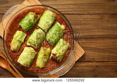 Vegetarian stuffed savoy cabbage rolls filled with wholegrain rice pepper onion and carrot baked on tomato sauce in pan photographed overhead on dark wood with natural light