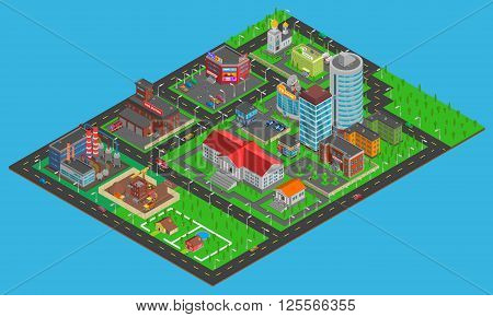 Modern city  isometric map with transport infrastructure industrial and residential areas on blue background vector illustration