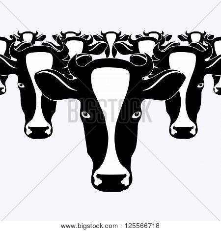 Cow herd of cows a vector image on agricultural topic