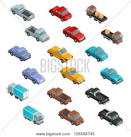 Road transport vehicles carryings passengers and cargo automobiles colorful  isometric icons collection abstract isolated vector illustration