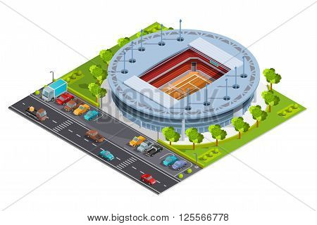 Tennis sport complex with open court stadium for championships training and matches isometric banner abstract vector illustration