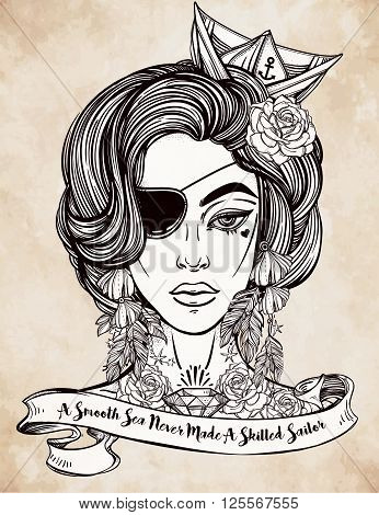 Hand drawn beautiful artwork of female pirate sailor with eye patch in flash tattoo art style. Isolated vector illustration with ribbon typography quote. A smooth sea never made a skillful sailor.