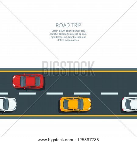 Vector Horizontal Seamless Background With Road And Multicolor Cars.