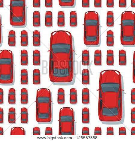 Vector Seamless Pattern With Multi Sized Red Cars.