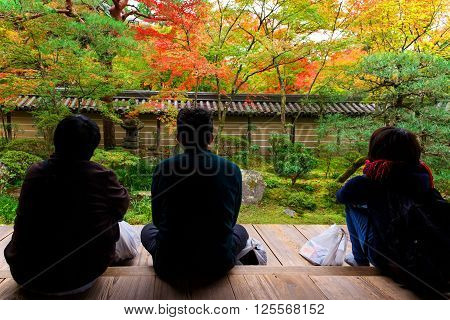 Eikando Temple, People Enjoy Autumn Foliage, Kyoto