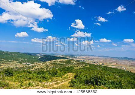Panorama of Pešter plateau landscape in southwest Serbia