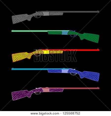 five rifles bright colors. caricature, cartoon. for advertising  vector illustration