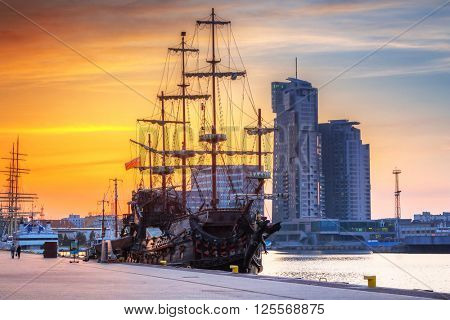 Sunset cityscape of Gdynia city at Baltic sea, Poland