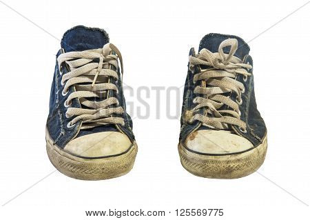 Dirty Sneakers Or Shoes Isolated On White