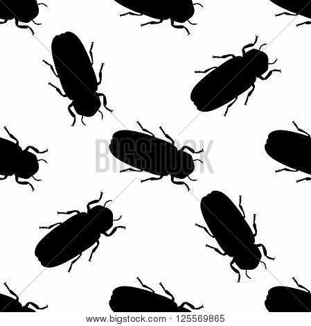 Seamless pattern with firefly beetle Lampyridae. photinus pyralis. hand-drawn firefly . Vector illustration