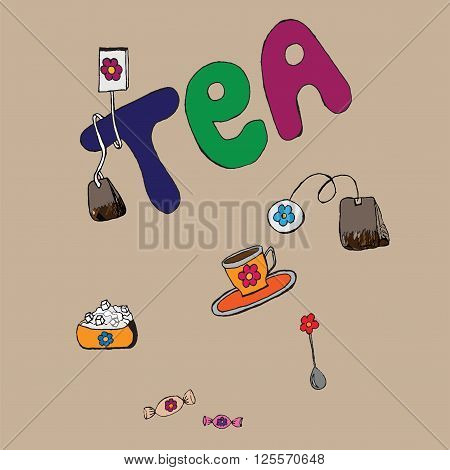 Tea vector set. Spoon and cup with tea. Teatime. Sugar and candies. Tea bug. Lettering.