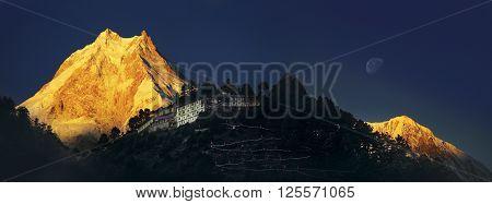 Himalayas. The Ribum monastery. Nepal. Manaslu region.