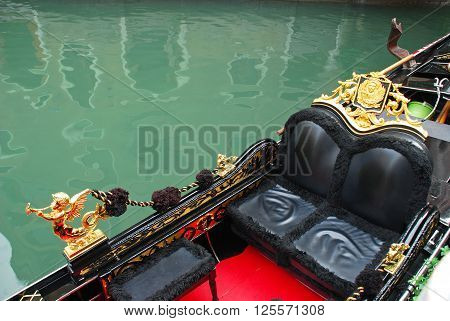 Venetian gondola traditional boat in Venice Italy