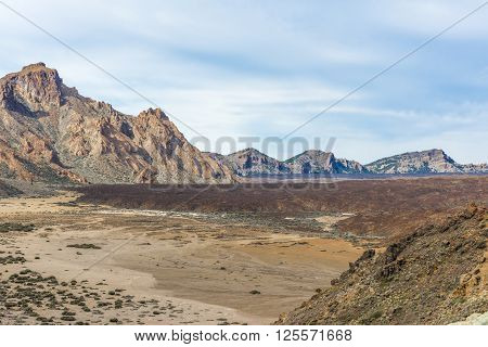Sharp rocks surround the valley, located in the Caldera of the volcano Teide on Tenerife.