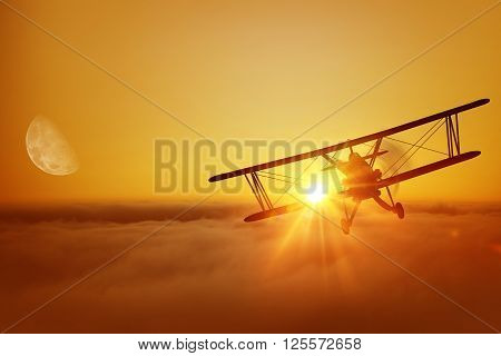 Airplane Above the Clouds During Sunset. Great Airplane Flying Adventure. Biplane Flight. 3D illustration.